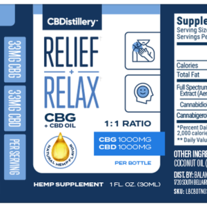CBG + CBD Oil Tincture 1:1 – 2000mg – 30ml